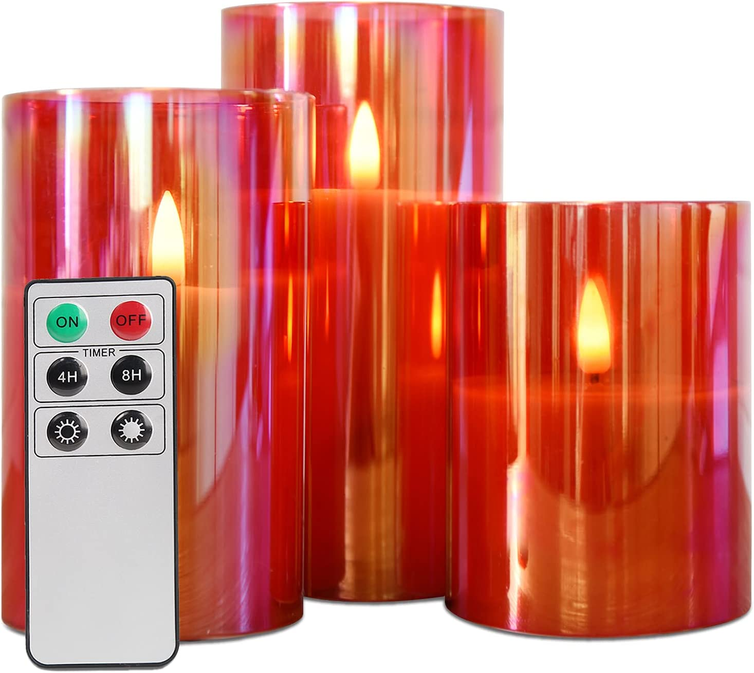 Eywamage Red Glass Flickering Flameless Candles with Remote, Black Wick Realistic LED Battery Candles Set 3 Inch Wide 4 5 6 inch Tall