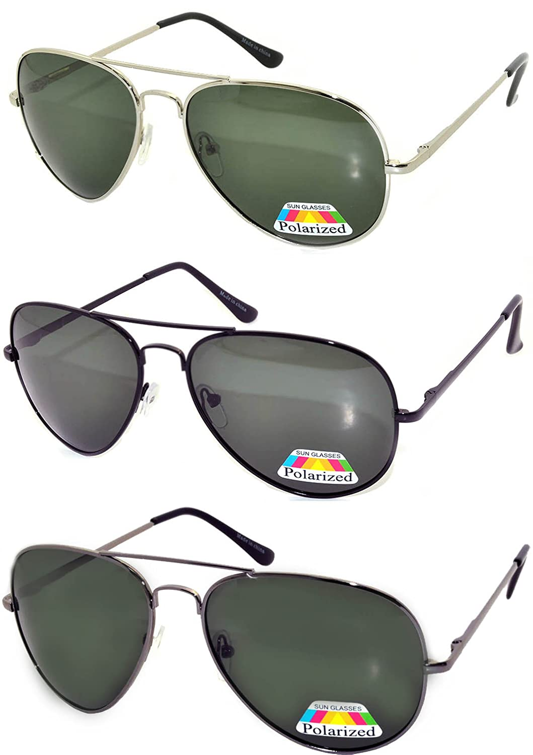 dd8d21388ef Amazon.com  Set of 3 Classic Aviator Style Sunglasses Gold Metal Frame  Polarized Brown Lens  Clothing