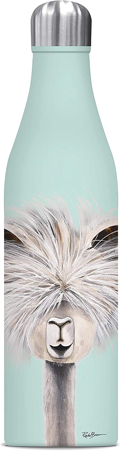 Studio Oh! WC057 Insulated Stainless Steel Water Bottle, 25 oz, Tina the Llama on Mint