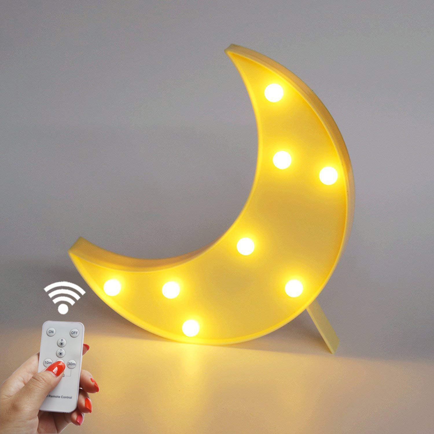 Battery Operated Night Light LED Marquee Sign with Wireless Remote Control for Kids' Room, Bedroom, Gift, Party, Home Decorations (Yellow Moon)