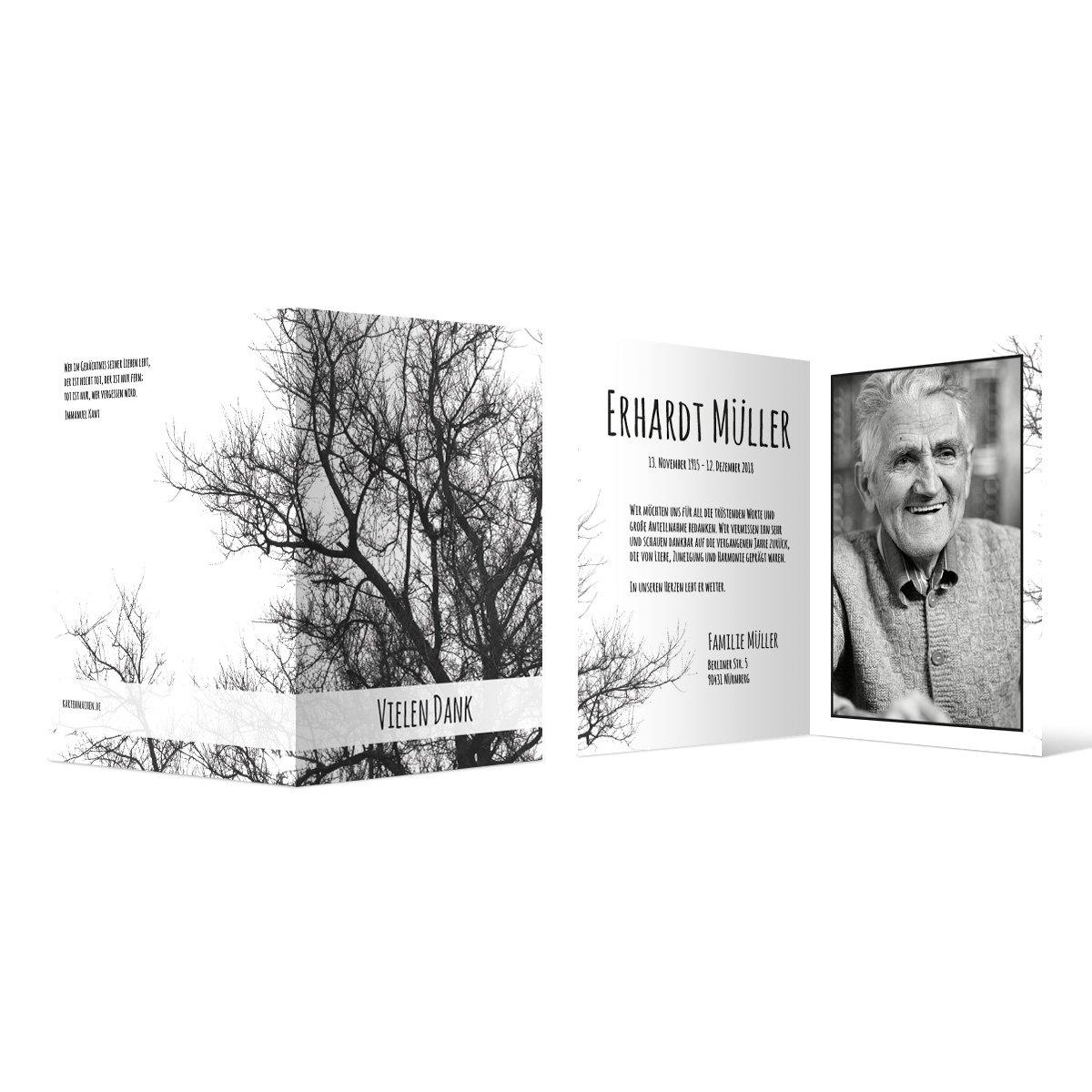 50 x Trauer Dankeskarten Danksagung Danksagungskarten Trauerkarten individuell - Baum der Erinnerung