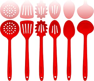 Red Silicone Cooking Utensils Set – Sturdy Steel Inner Core – Spatula, Mixing & Slotted Spoon, Ladle, Pasta Server, Drainer – Heat Resistant Kitchen Tools - Bonus Recipe Ebook