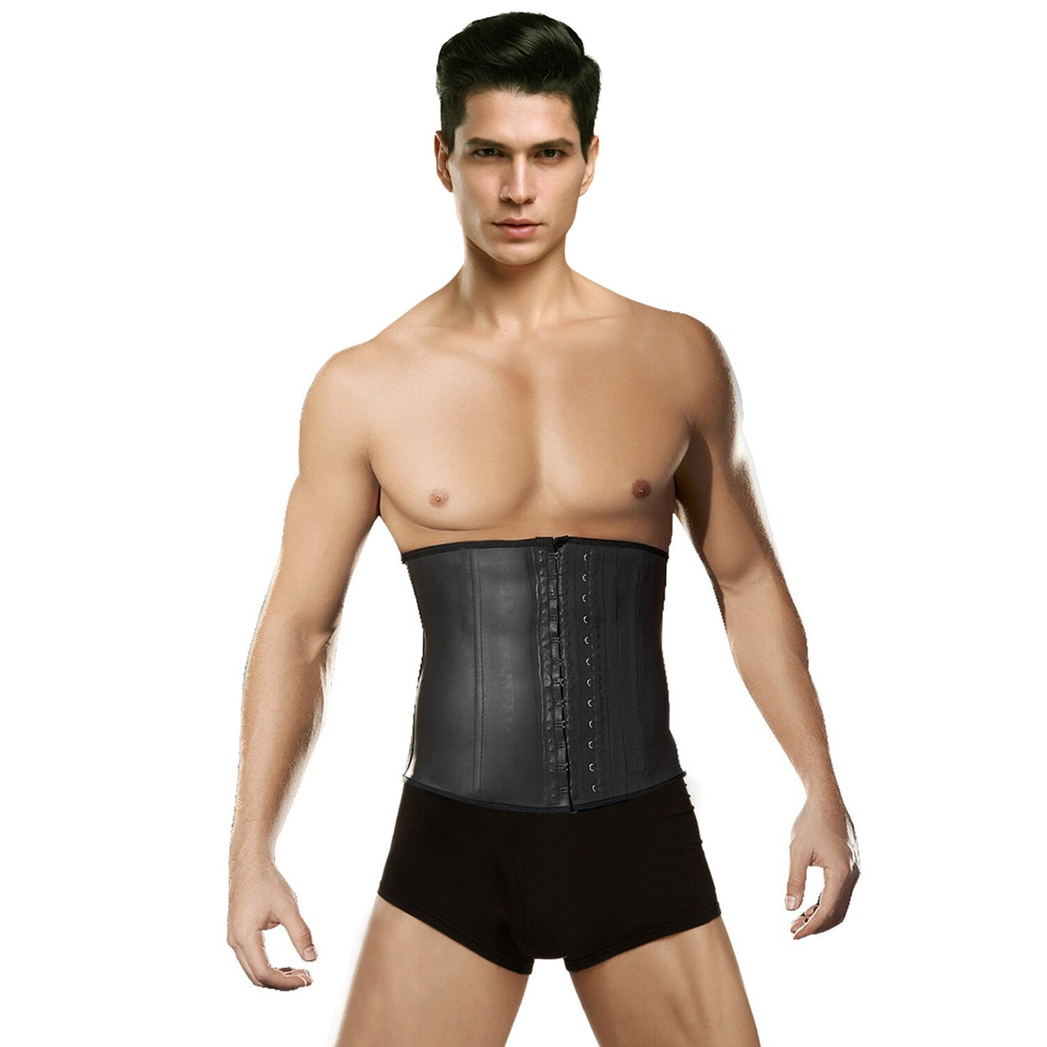 ba7984c139d 4 Steel boned design ensure the quality of this men waist trainer.  Adjustable 3 Rows of Hooks and eyes closure front will give more choice  that you could ...