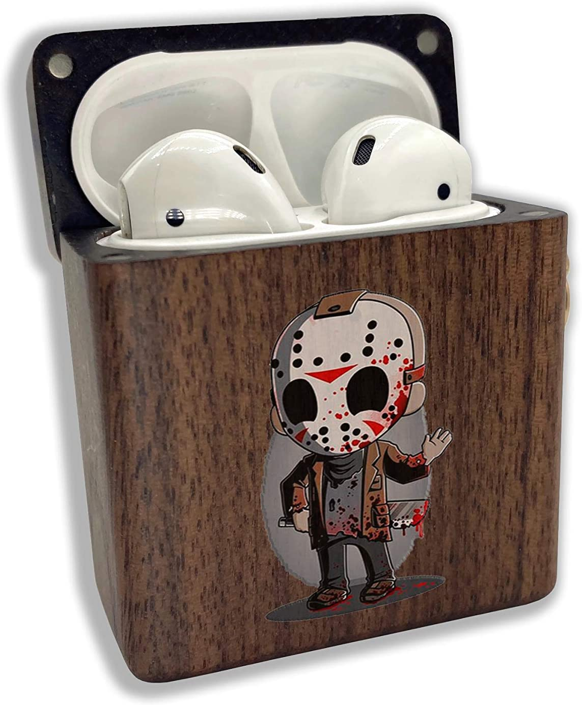 Halloween Jason Voorhees Wood case Compatible with Apple AirPods 1 2 Pro AirPod Real Natural Wooden Grain Cover with Keychain Cartoon SN 32 (AirPods 1/2, Walnut)