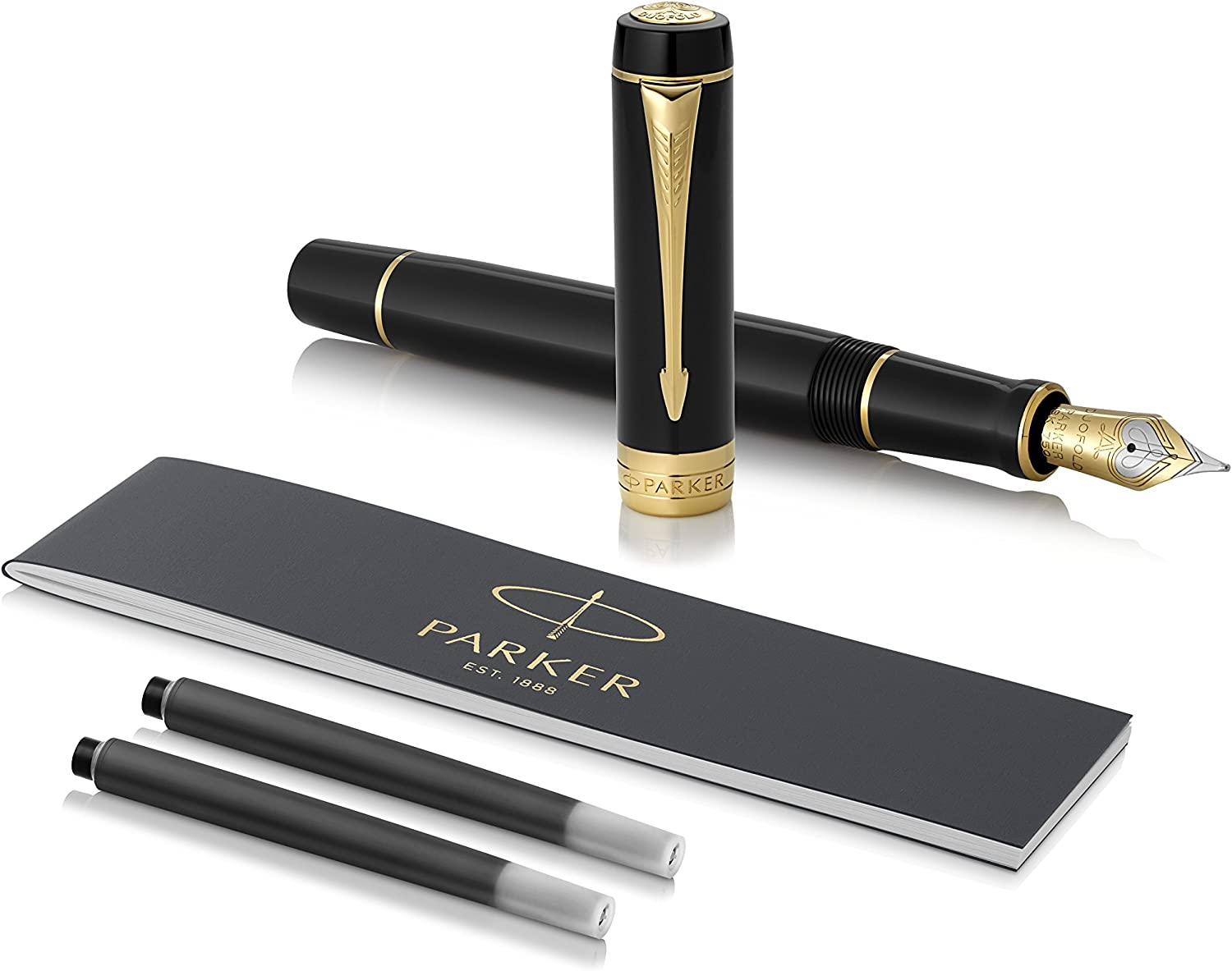 Premium Gift Box Medium Solid Gold Nib Classic Big Red Vintage Black Ink and Convertor Parker Duofold Centennial Fountain Pen
