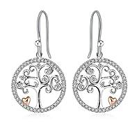 """Boucles d'oreilles, J.Rosée Argent 925 3A zircon Cadeau Parfait avec Paquet Exquis""""Arbre de la vie"""""""