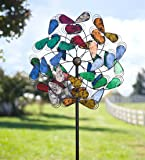 Outdoor Multi-Colored Plume Metal Garden Wind Spinner Yard Sculpture 24 dia. x 9 D x 75 H