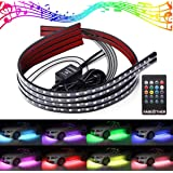 AMBOTHER 4Pcs Car LED Neon Undercar Glow light Underglow Atmosphere Decorative Bar Lights Kit Strip, 5050 SMD Underbody System Waterproof Tube 7 Color with Sound Active and Wireless Remote Control