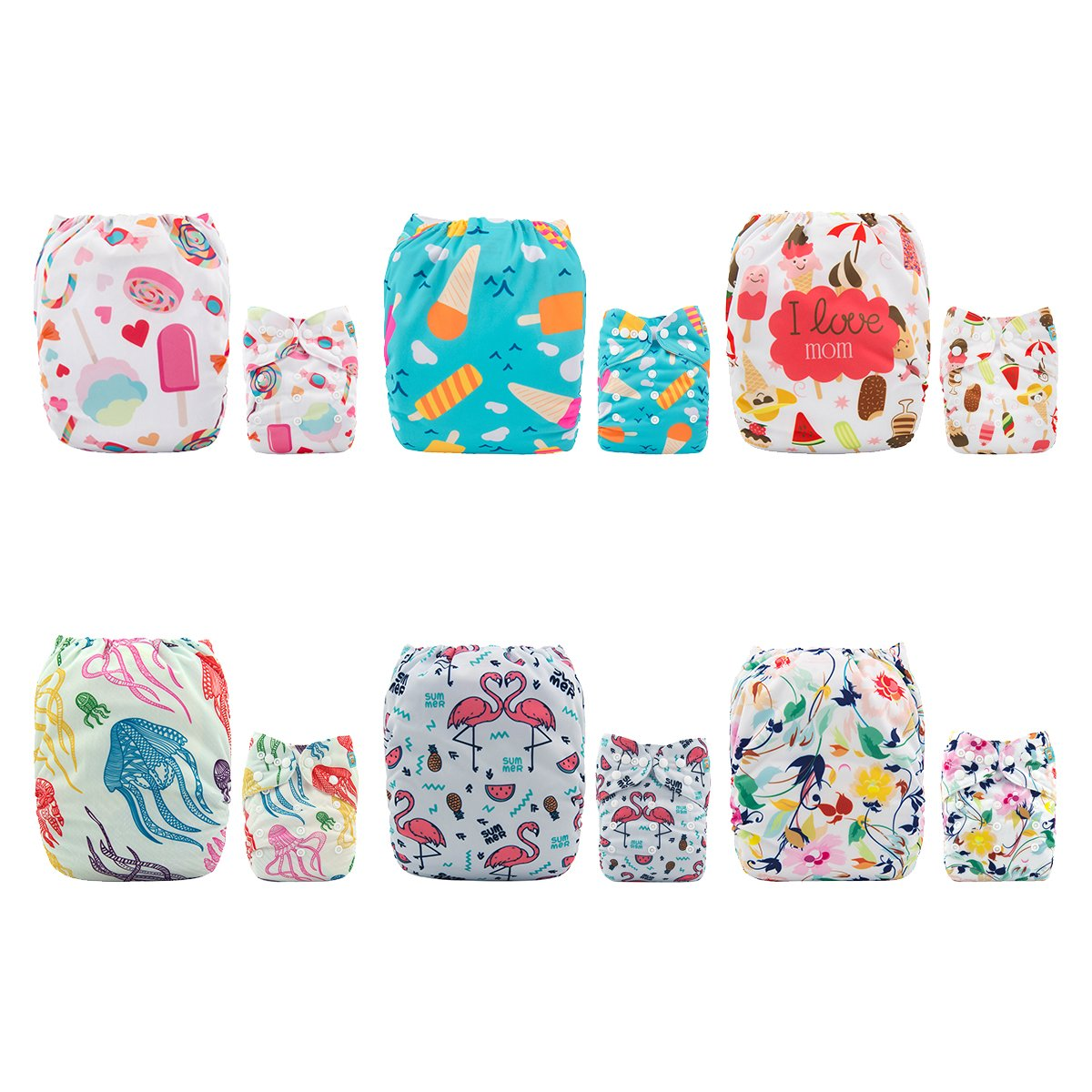 ALVABABY Cloth Diapers Washable Reusable Adjustable 6 PCS + 12 Inserts 6DM47-197-CA