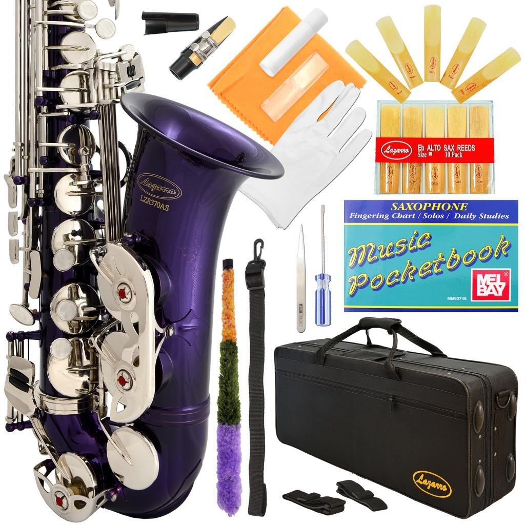 Lazarro 370-PR E-Flat Eb Alto Saxophone Purple-Silver Keys with Case, 11 Reeds, Care Kit and Many Extras by Lazarro