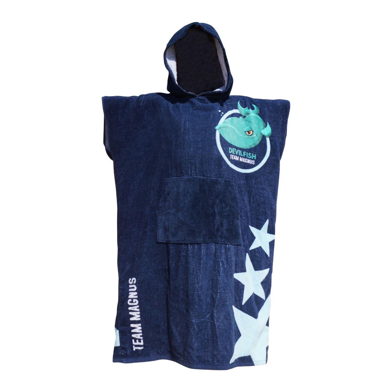 Team Magnus Toalla Playa Surf Poncho para cambiarse de Ropa - Albornoz con Capucha para natación - Unisex Changing Robe Beach Towel with Hood (Azul Marino): ...