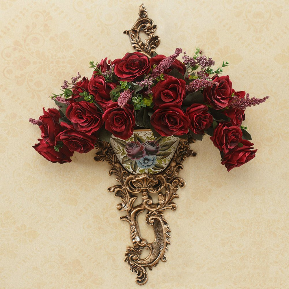 European Resin Flower Frame Wall Hanging Classical Wall Flower Wall Decorations-A by Flower racks