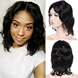 """100% Brazilian Human Hair Wigs 7A Black Short Straight Body Wave Full Wig Real Natural Look with Glueless Adjustable Cap (10"""" human hair, Body Wave)"""
