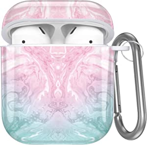 Hamile Compatible with Airpods Case Cover Cute Protective Case for Apple Airpods 2 & 1, Fadeless Pattern Shockproof Hard Case Cover with Portable Keychain for Girls Women Men - Pink Green Marble