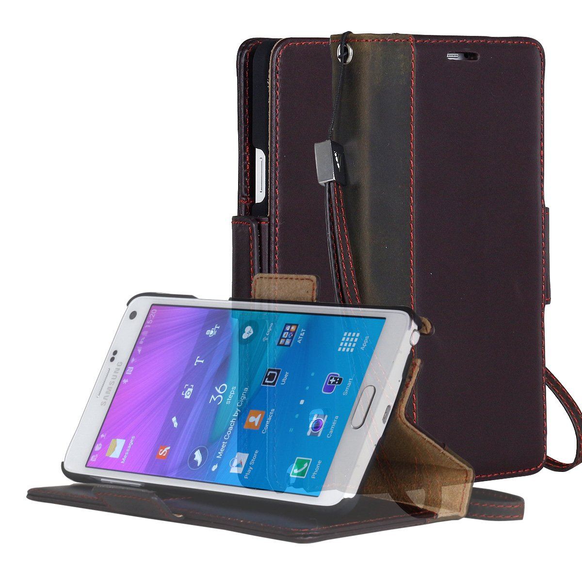 Galaxy Note 4 Case, AceAbove Samsung Galaxy Note 4 Wallet Case - Premium Genuine Leather Wallet Book Cover with Stand Flip Cover and Hand Strap