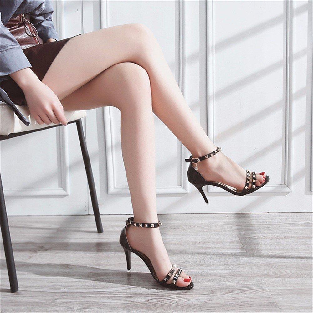 Mode Hochhackigen Hochhackigen Hochhackigen Sandalen an Frauen Das Wort Sommer Fische Kopf Gut mit Wilden Nieten Schuhe eb0890