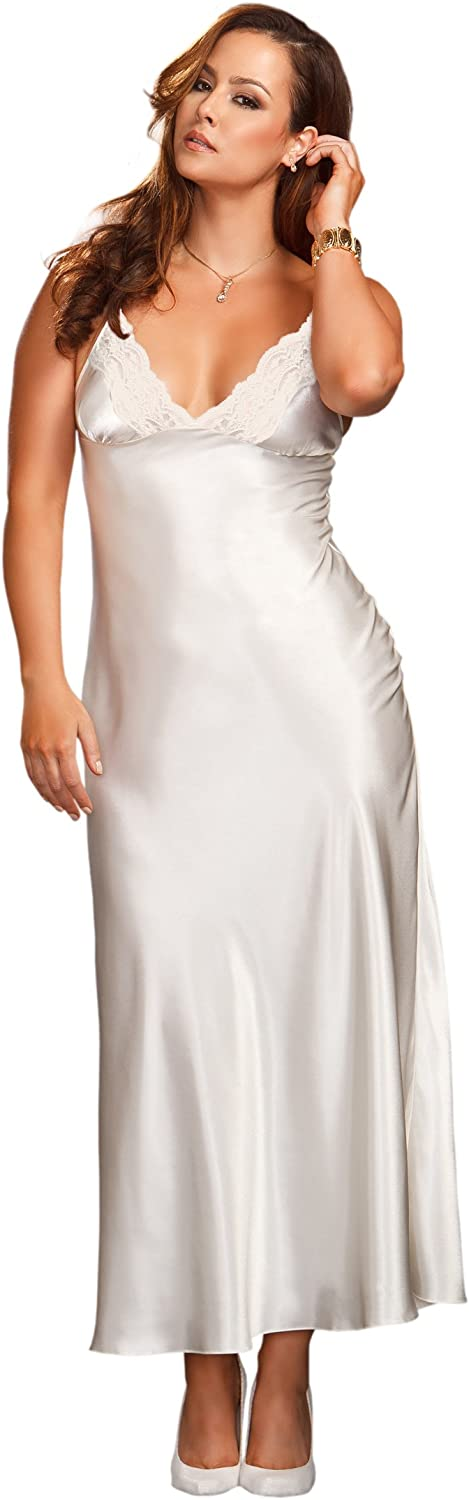 iCollection Women's Plus-Size Long Lace Trimmed Satin Gown: Clothing