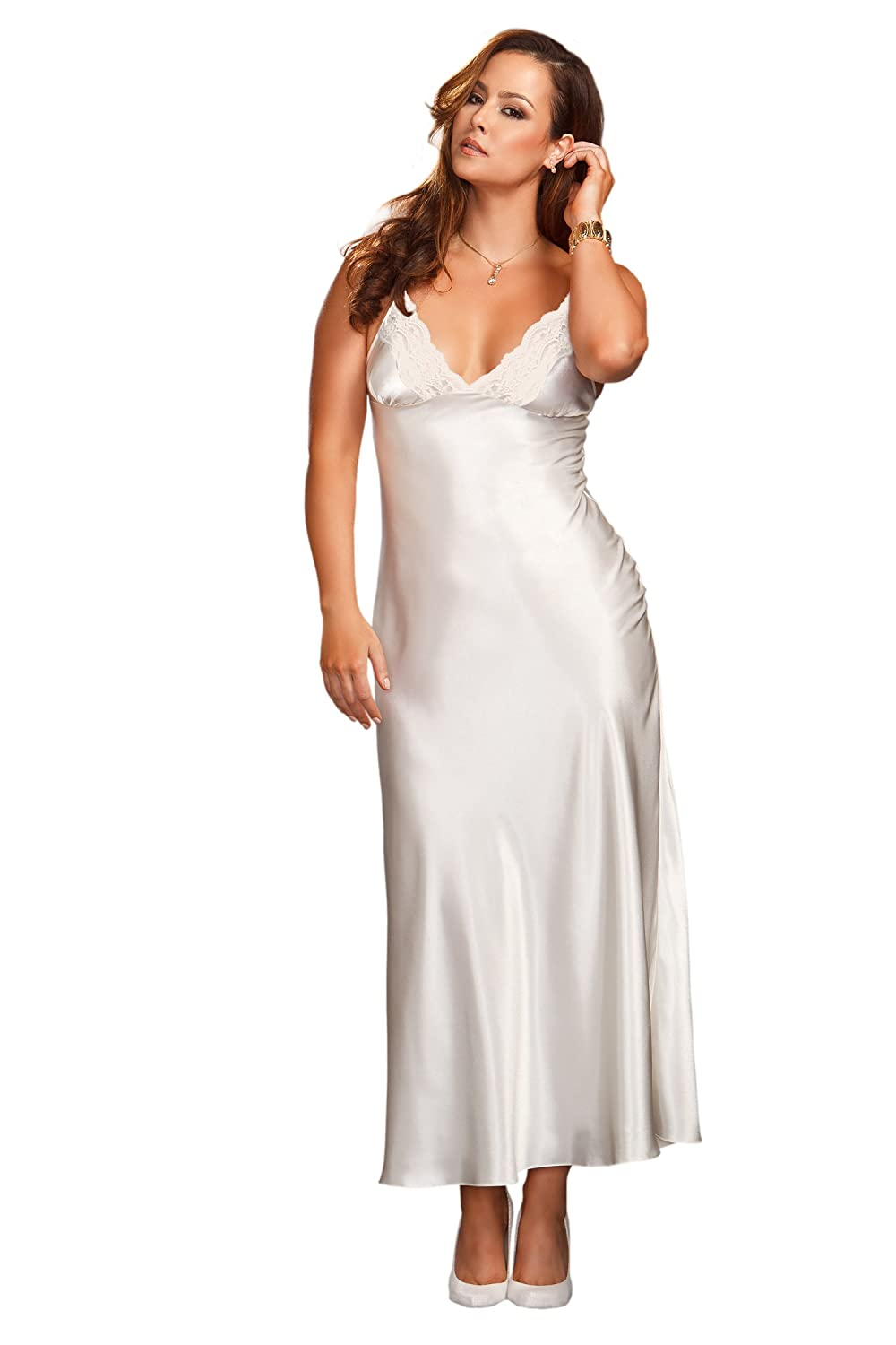 iCollection Women's Plus-Size Long Lace Trimmed Satin Gown iCollection Exotic IA 7801X