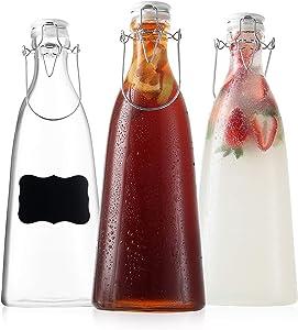 Ceramic Flip Top Glass Bottles - Kombucha Bottles with Swing Top Lids – Clear Bottles with Stopper - Swing Top Bottles for Beverages, Smoothies, Kefir, Soda, Juicing, Kombucha, Water, Milk, Oil and Vinegar (3 Pack 50 Oz)