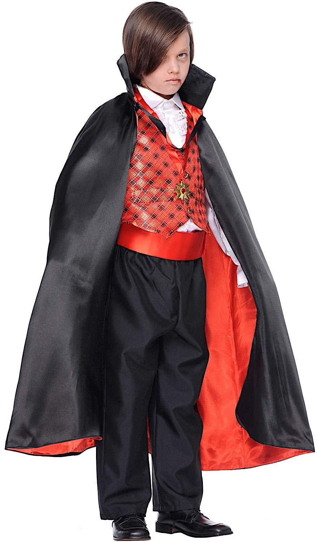 Costume di Carnevale da Conte Dracula Vestito per Ragazzo Bambino 7-10 Anni Travestimento Veneziano Halloween Cosplay Festa Party 5946 Taglia 7 S