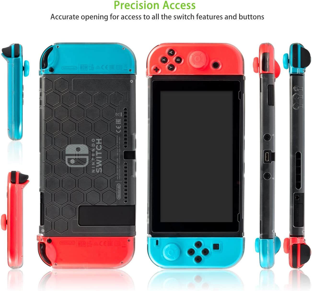 Funda para Nintendo Switch - Younik funda protectiva compatible con el dock resistente a rayones y ultra delgada con 6 tapas de pulgar con agarre para la consola Nintendo Switch y el