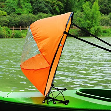 RENHAIGY Tandem Clear Kayak Wind Sail Kit Downwind Paddle Popup Board  Inflatable Foldable Canoe Boats Accessories 42 Inches Durable Surfing Easy  Setup