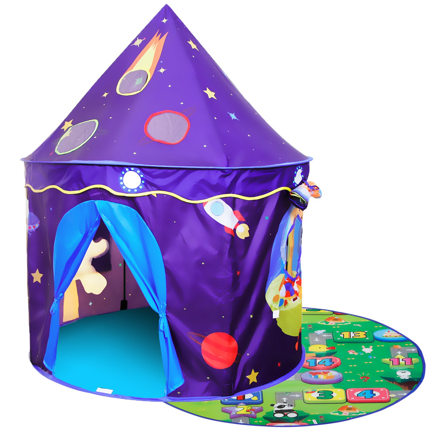 Homfu Play Tent For Kids Castle Playhouse With Space Pattern For Children Perfect Gift for Any Child