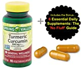 Tumeric Curcumin Supplement Capsules 500 mg (90 ct) from Spring Valley and Bonus No Fluff Supplement Guide. Max Strength Capsules to Target Inflammation