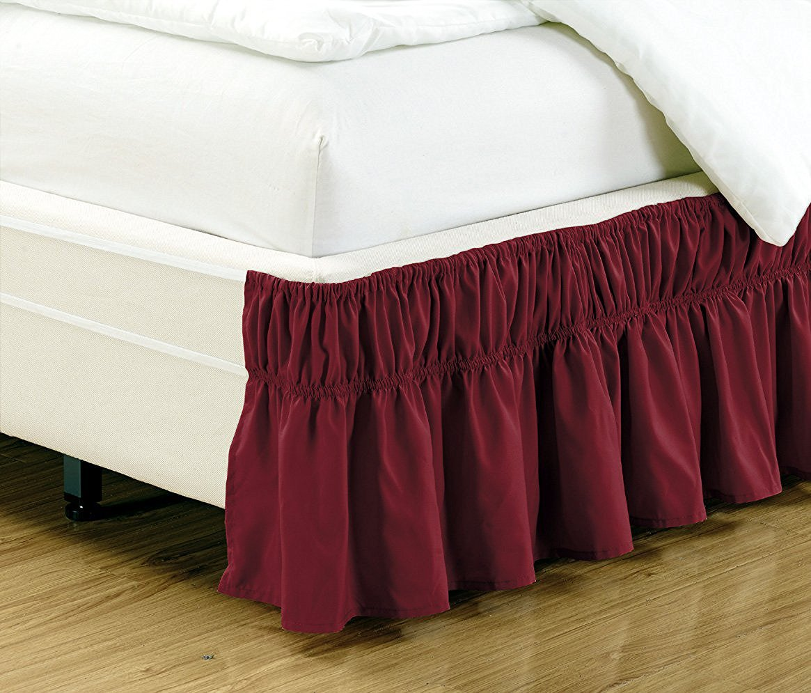 Fancy Collection Queen -King Easy Fit Bed Ruffle wrap Around Elastic Bed Skirt With 17'' Drop New Easy Install Solid Burgundy