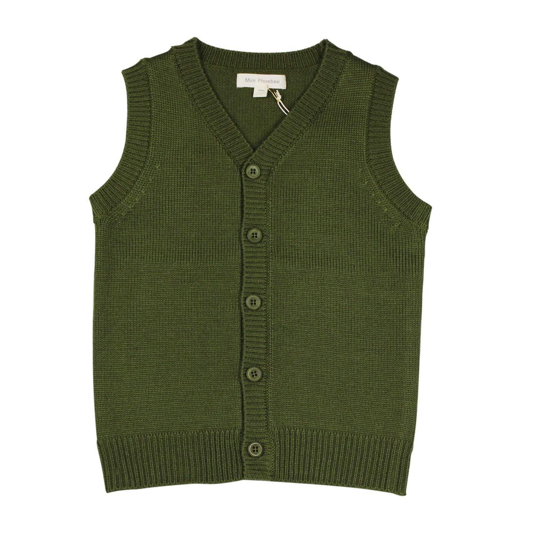 Mini Phoebee Boys' V-Neck Button Front Merino Wool Blend Cardigan Sweater Vest 9T Green