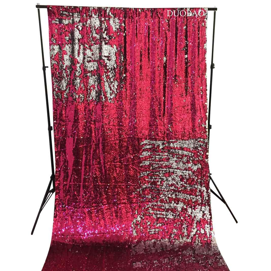 DUOBAO Sequin Backdrop 8Ft Fuchsia to Silver Mermaid Sequin Backdrop Fabric 6FTx8FT Two Tone Sequin Curtains by DUOBAO