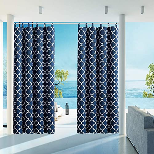 HGMart Outdoor Patio Curtain Waterproof 50 x120 Tab Gazebo Porch Curtains UV Ray Protected Fade Resistant and Mildew Resistant,Dark Blue 1 Panel