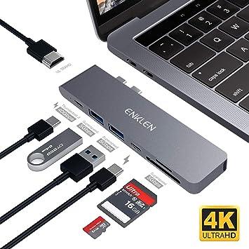 Hub USB C Macbook Pro Adaptador USB C 3.1 Hub Tipo C con Thunderbolt 3, Puerto de Carga Tipo C, HDMI 4K, Lector de Tarjetas SD/TF3.0, 3 Puertos ...