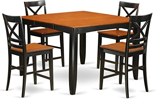 FAQU5H-BLK-W 5 Pc counter height Table and chair set – Table and 4 bar stools.