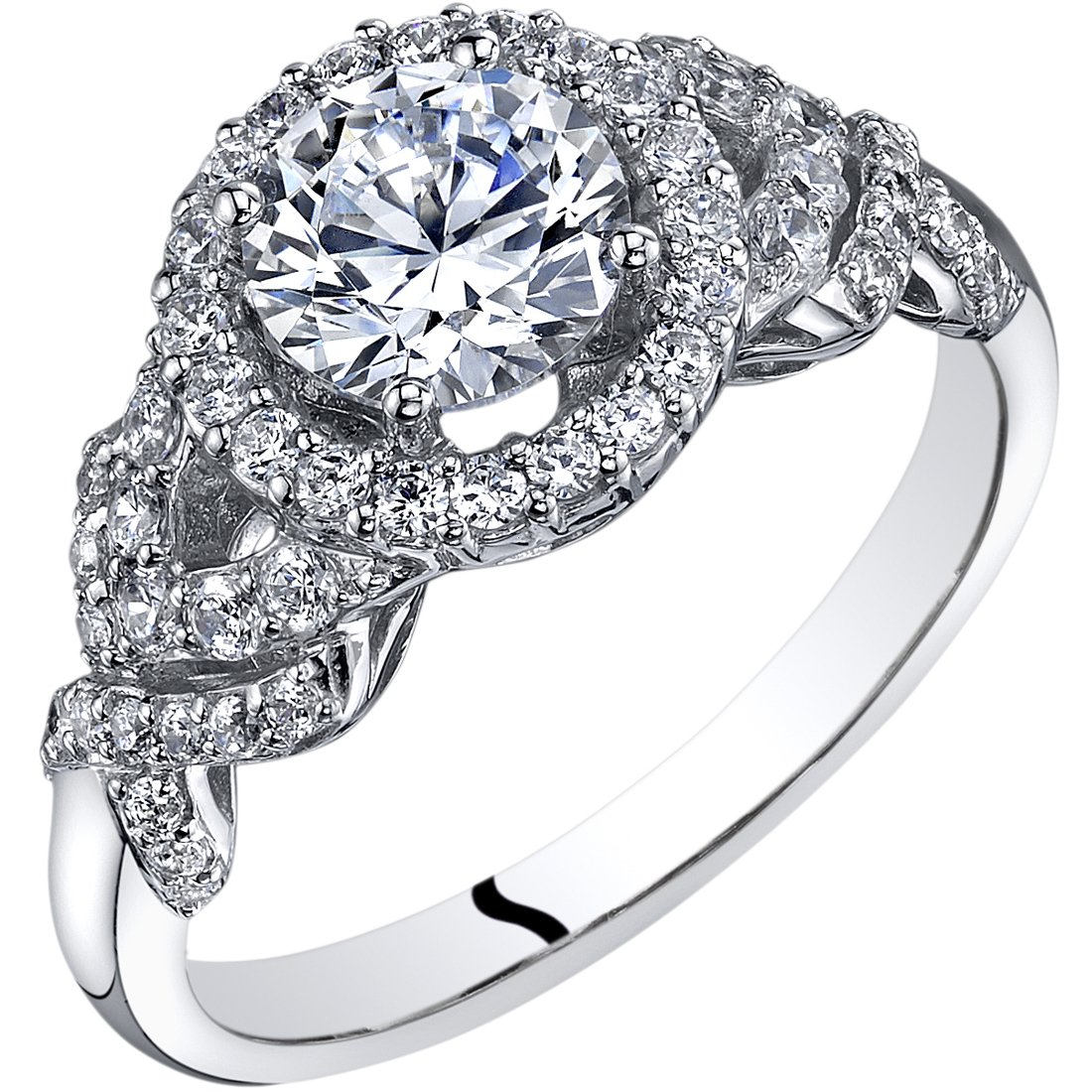 14k White Gold Cubic Zirconia Engagement Ring 1.00 Carat Center Halo Style Size 7 by Peora
