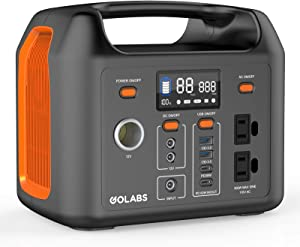 GOLABS Portable Power Station, 299Wh LiFePO4 Battery Backup, PD 60W Type-C Quick Charge, 300W Pure Sine Wave AC Outlet Solar Generator Power Supply for Outdoor Camping Fishing Travel Emergency CPAP (Orange)