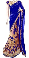 Manorath Girls' Georgette Half Saree (Havy Blue_Blue)