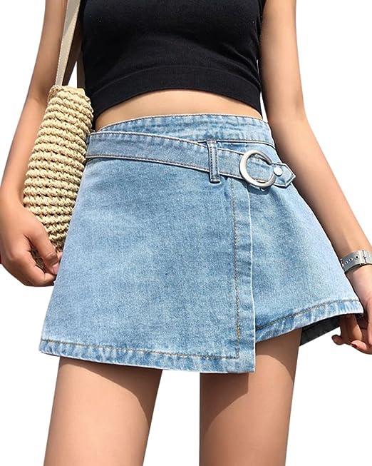 6081d056af4 Minifalda Falda Vaquera Mujer Falda Vintage Playa De Verano Jeans   Amazon.es  Ropa y accesorios