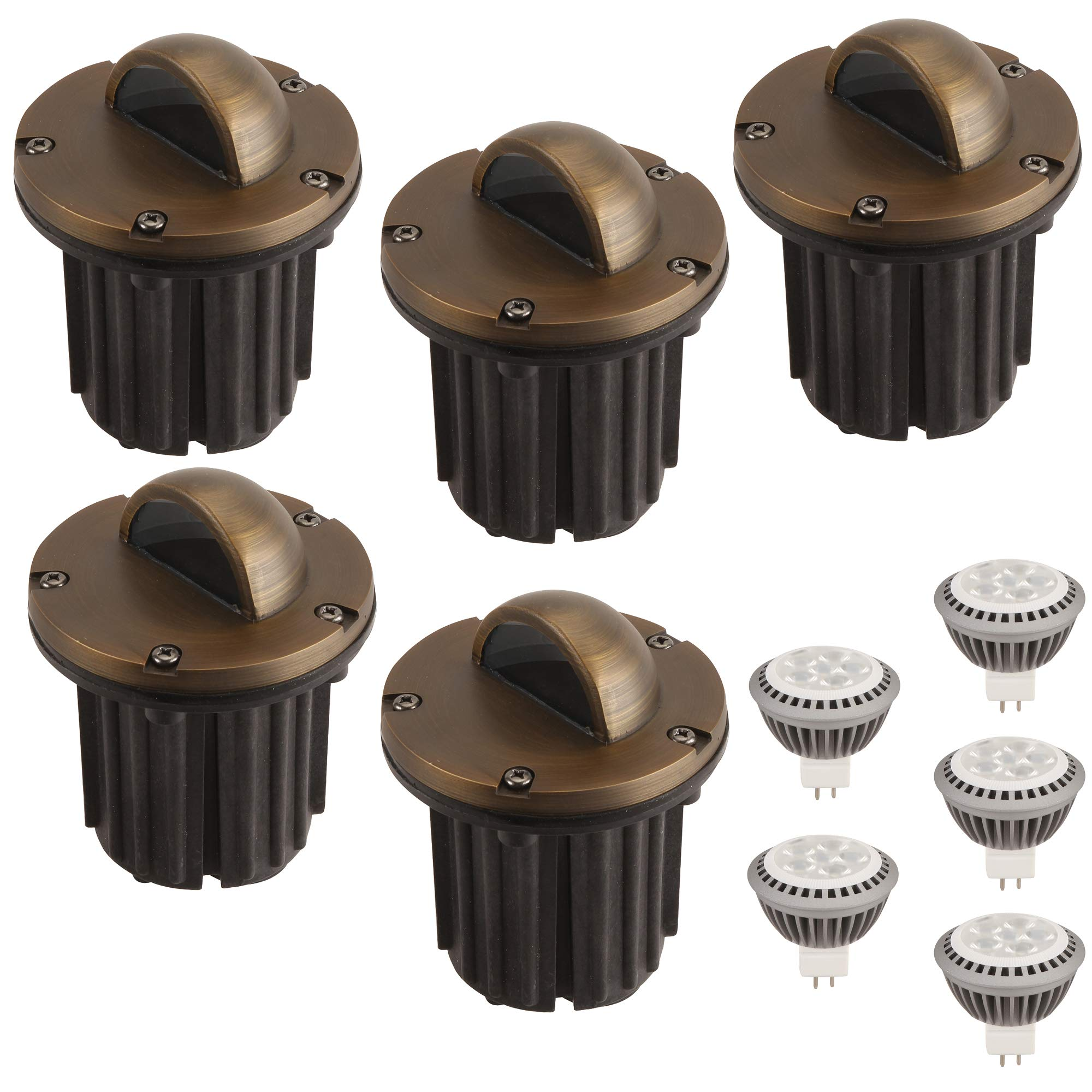 LFU Pack of 5 Solid Brass Constructed Well/In Ground Lights with 5 LED MR16 3W Warm White Bulbs. Model LF3004AB Vienna. Low Voltage. by Lighting Factory USA