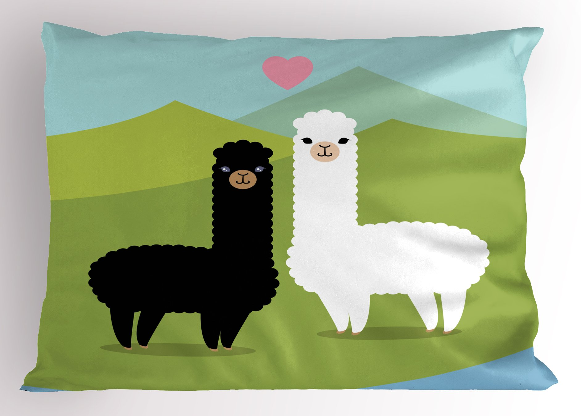 Ambesonne Llama Pillow Sham, Alpacas in Love in The Mountains Fauna Valentine's Animals with Contrasting Colors, Decorative Standard Size Printed Pillowcase, 26 X 20 inches, Multicolor