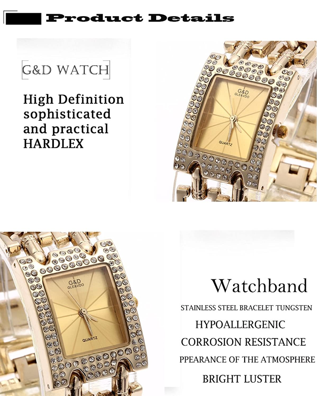 Amazon.com: Sheli Girls Small Yellow Rectangle Diamonds Decorated Gold Quartz Bangle Watch: Watches