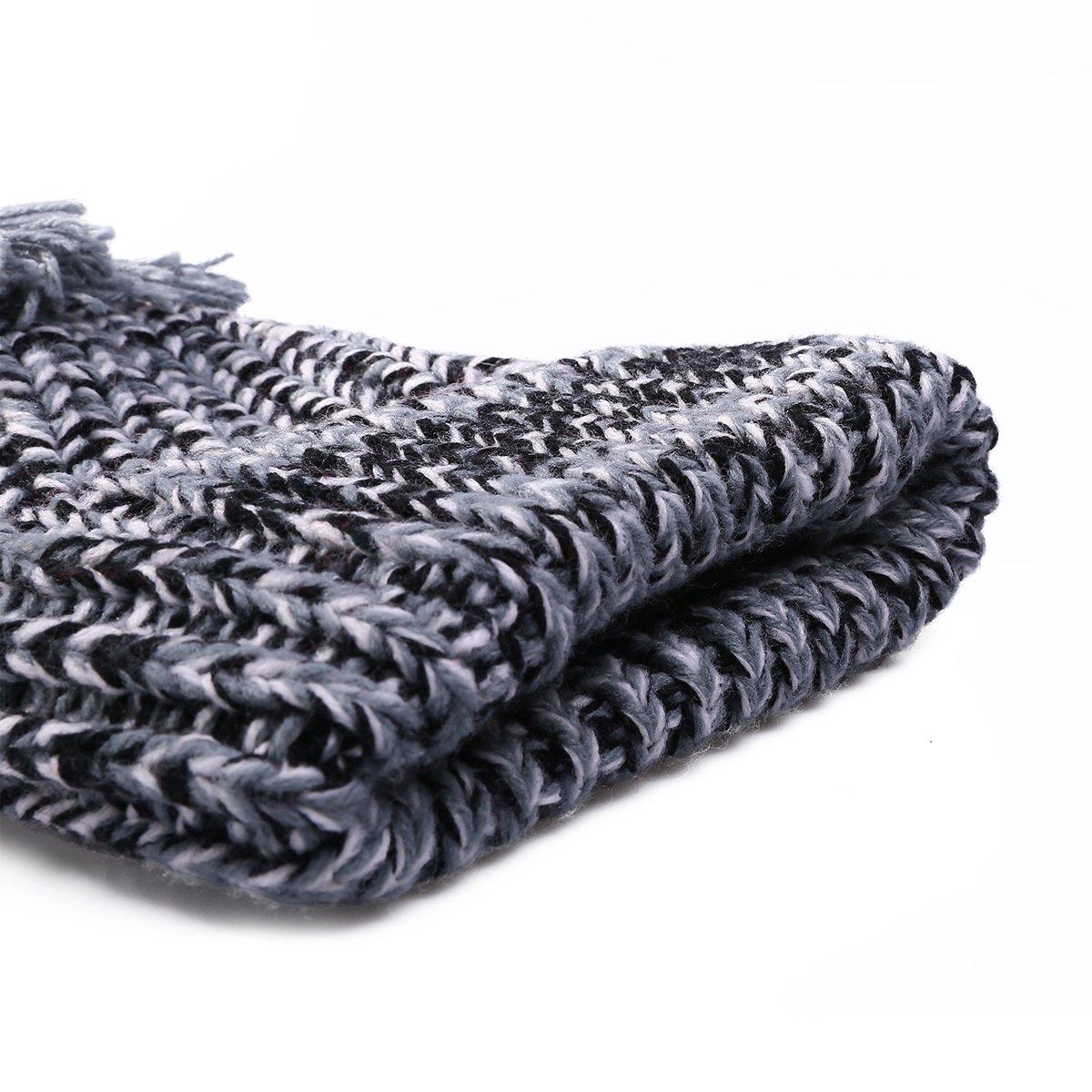 EVRFELAN Winter Women Slouchy Large Pompom Beanie Thick Warm Cable Knit Crochet Hat Fashion Stretchy Chunky Warm Ski Skull Cap Snowboard Braid Girls Solid Soft (Grey)