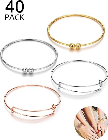 4 Styles Silver and White K 40Pcs Expandable Bangle Bracelet Adjustable Bracelets Blank Wire Bangle for Women DIY Jewelry Making