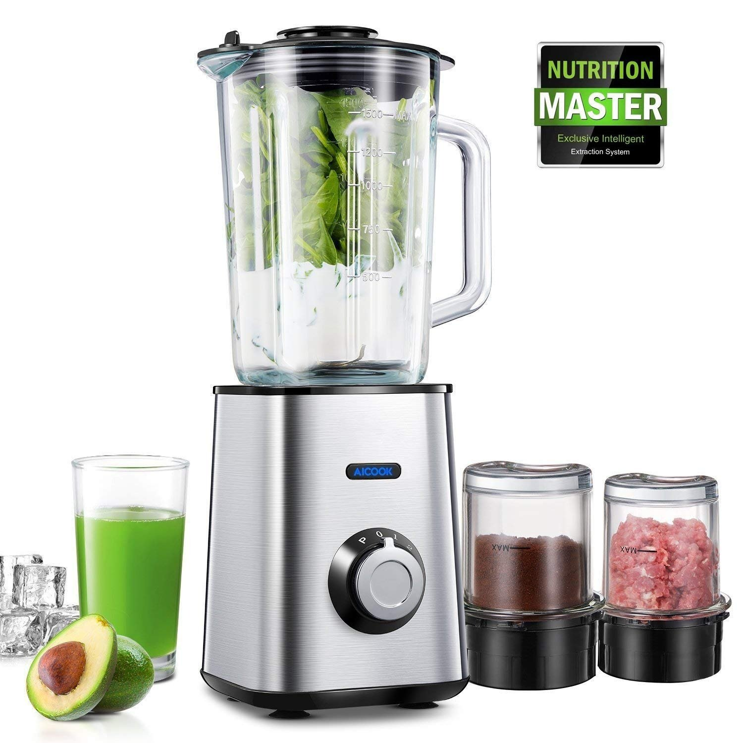 Aicook Blender, Smoothie Blender with 3-Cup Glass Jar,  450W Blender for Shakes and Smoothies with Grinding Cup and Meat Mincing Cup