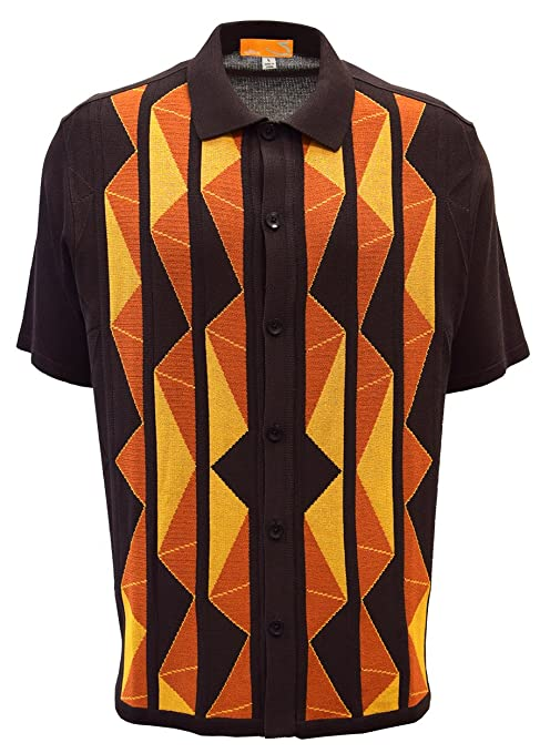 50s Costumes | 50s Halloween Costumes Edition-S Mens Short Sleeve Knit Shirt- California Rockabilly Style Aztec Triangle Design $49.00 AT vintagedancer.com