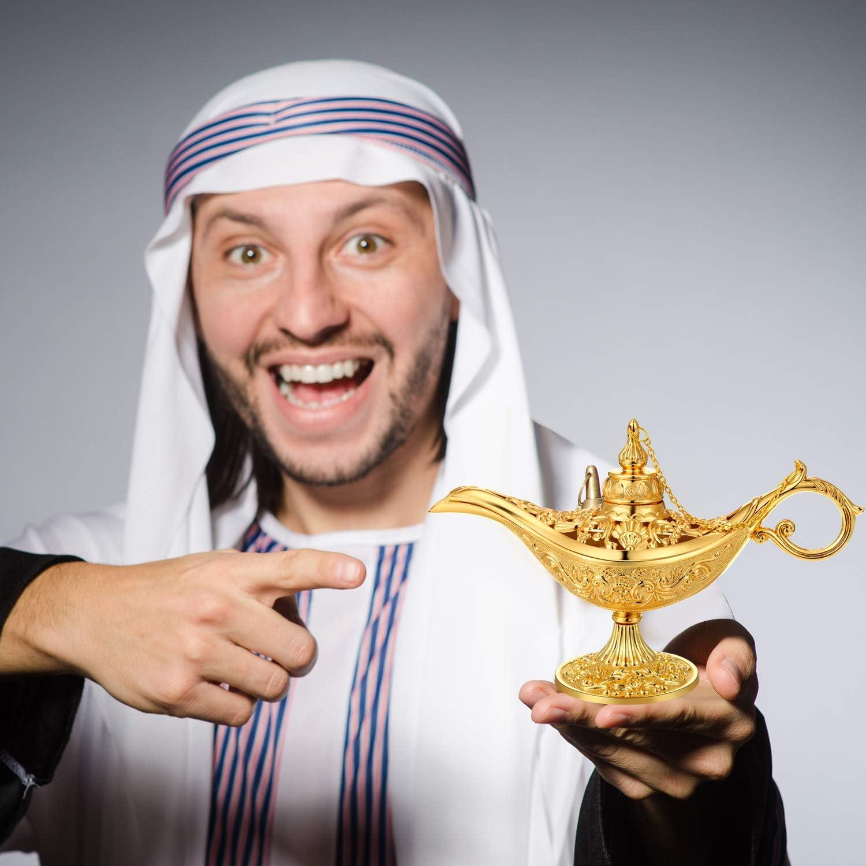 Boao Golden Vintage Legende Metall Lampe Genie Licht Lampe Pot W/ünschen Lampe Heim Tee Oil Pot Arabian Art Handwerk Geschenk