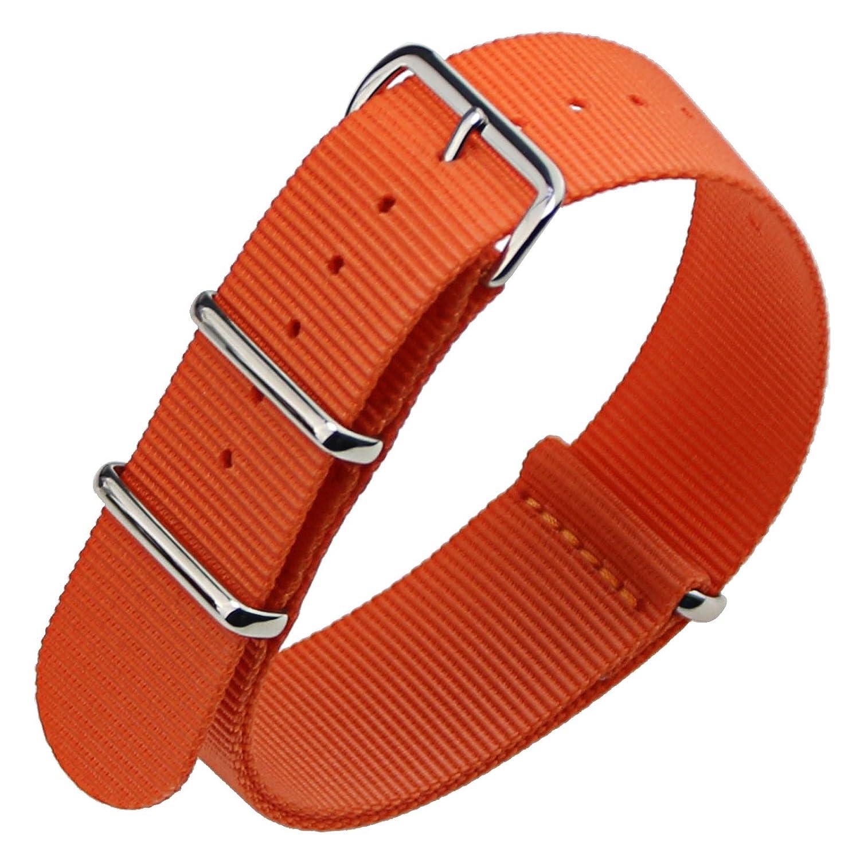 zlimsnナイロン時計ストラップレディース用腕時計のバンドのメンズレディースブレスレット交換ストラップ 24mm オレンジ 24mm|オレンジ オレンジ 24mm B076F5L44W