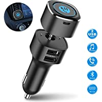 Bluetooth Receiver for Car, Esky Bluetooth 4.2 Hands-Free Car Kits/Bluetooth Aux Car Audio Adapter with Dual 2.4A USB Port Car Charger, Wireless Car Kits for Home/Car Audio Stereo, 3.5mm Aux Input