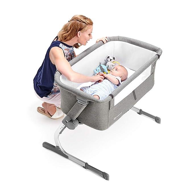 Kinderkraft Cuna colecho de bebe uno Cuna de viaje plegado Ultraleggero 6kg Co-Sleeping con anclaje a cama con accesorios Bolsa Colchón ajuste de ...