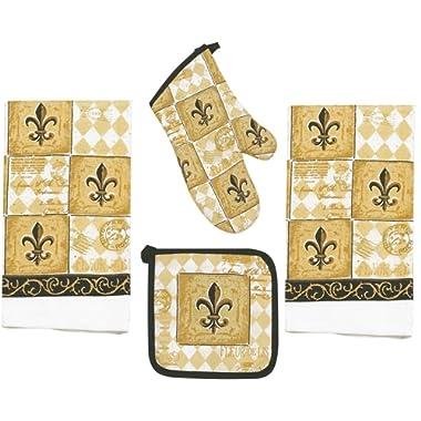 4 Piece Majestic Fleur De Lis Kitchen Set - 2 Terry Towels, Oven Mitt, Potholder